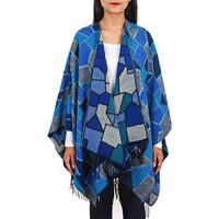 Vêtements Femme Pulls Qualicoq Poncho Nostra - Couleur - Bleu - Fabriqué en France Bleu