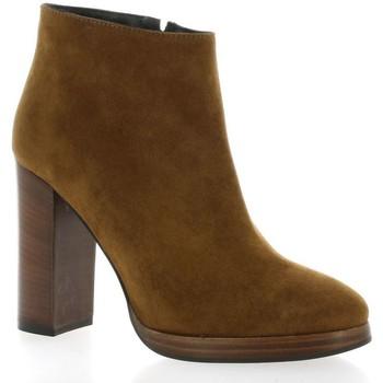 Chaussures Femme Bottines Fremilu Boots cuir velours Cognac