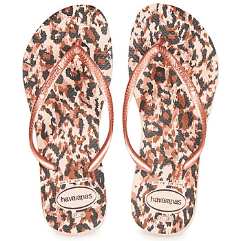 Chaussures Femme Tongs Havaianas SLIM ANIMALS Rose / Doré