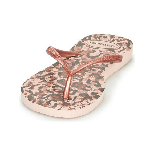 Havaianas Slim Animals Rose / Doré - Livraison Gratuite- Chaussures Tongs Femme 2520 94uyt