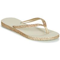 Chaussures Femme Tongs Havaianas SLIM SPARKLE Beige / Doré