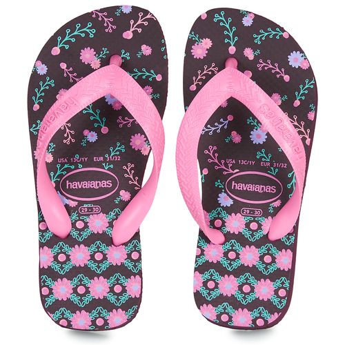 Chaussures Fille Tongs Havaianas KIDS FLORES Aubergine
