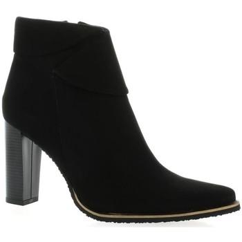 Chaussures Femme Bottines Vidi Studio Boots cuir velours Noir