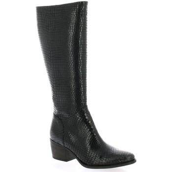 Chaussures Femme Bottes ville Minka Bottes cuir python Noir