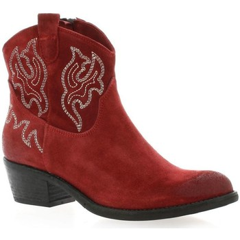 Chaussures Femme Bottines Paoyama Boots cuir velours rouge