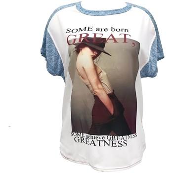 Vêtements Femme T-shirts manches courtes By La Vitrine Tee-shirt B005 Bleu/Blanc Bleu