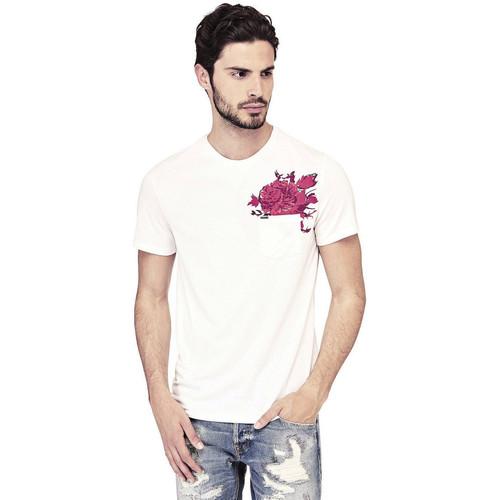 Vêtements Homme T-shirts manches courtes Guess T-Shirt Homme Nicolas Blanc