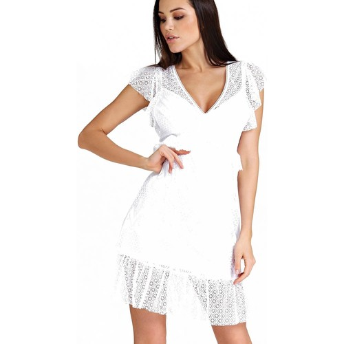 Vêtements Femme Robes courtes Guess Robe Dentelle Femme Angelica W83k66 Blanc