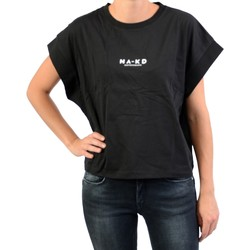Vêtements Femme T-shirts manches courtes Na-Kd Tee Shirt NAKD Logo Cropped Boxy Antracite