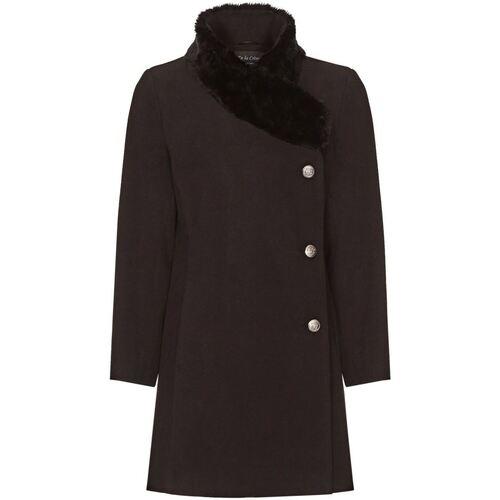 Vêtements Femme Manteaux De La Creme Manteau Col de Fourrure Asymétrique Hiver Femme Black