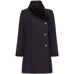 Vêtements Femme Manteaux De La Creme Manteau Col de Fourrure Asymétrique Hiver Femme Grey