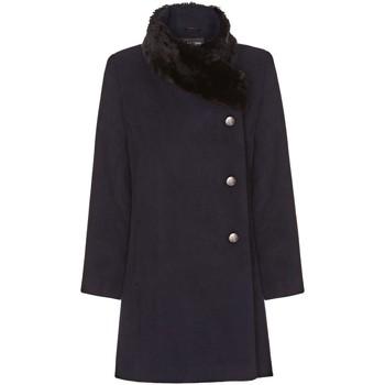 Vêtements Femme Manteaux De La Creme Manteau Col de Fourrure Asymétrique Hiver Femme Blue