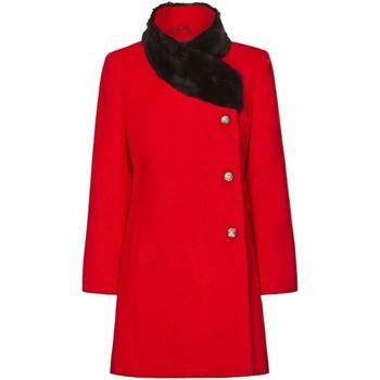 Vêtements Femme Manteaux De La Creme Manteau Col de Fourrure Asymétrique Hiver Femme Red