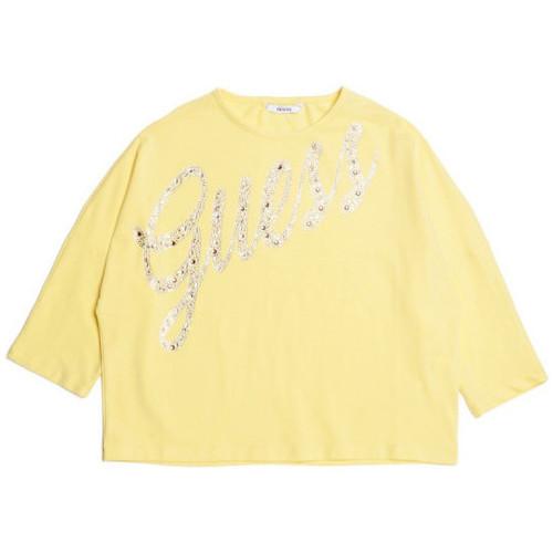 Vêtements Enfant T-shirts manches longues Guess T Shirt Fille Jaune J82I32