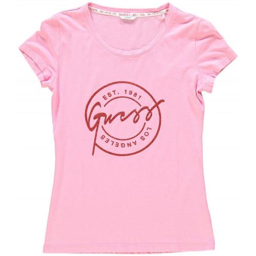 Vêtements Femme T-shirts manches courtes Guess T-Shirt Femme Stamp Rose W82I12