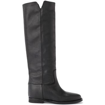 Chaussures Femme Bottes ville Via Roma 15 Botte en cuir noir Noir