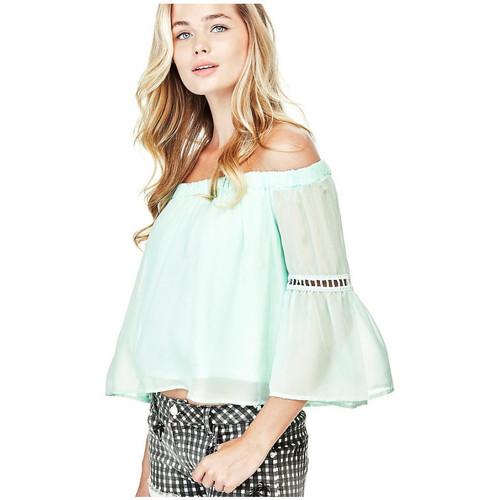 Vêtements Femme Tops / Blouses Guess Top Femme Courtney Encolure Bateau Vert Clair