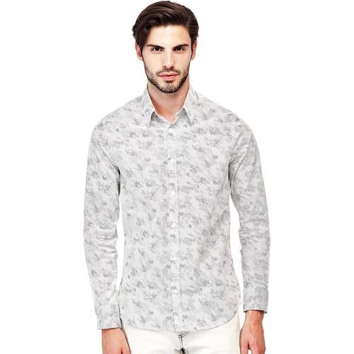 Vêtements Homme Chemises manches longues Guess Chemise Homme Manches Longues Sunset Blanc