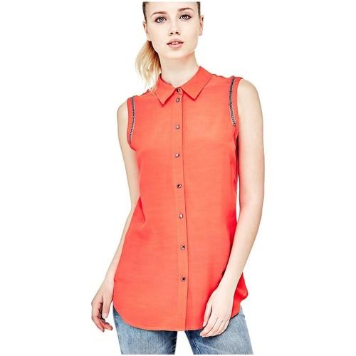 Vêtements Femme Chemises / Chemisiers Guess Chemise sans manches mildred Corail W81H21