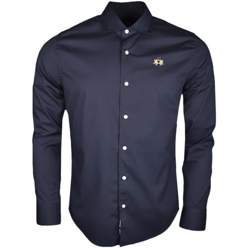 Vêtements Homme Chemises manches longues La Martina Chemise  noire basique logo doré slim fit pour homme Noir