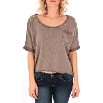 Vêtements Femme Tops / Blouses Sweet Company Pull Clous Dorés Taupe Marron