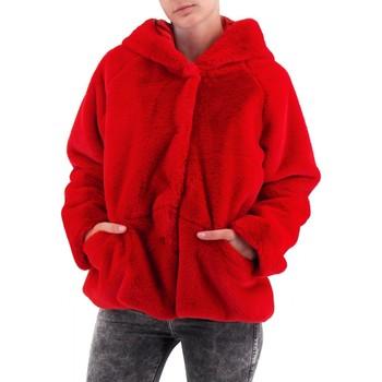 Vêtements Femme Manteaux Amami | Fourrure à capuchon court | AMI_PEL3340DRO rouge