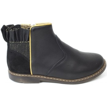 Chaussures Fille Boots Pom d'Api Bottines cuir CITY FRIZZ noir
