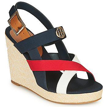 Chaussures Femme Sandales et Nu-pieds Tommy Hilfiger BASIC HARDWARE HIGH WEDGE SANDAL Bleu / Blanc / Rouge