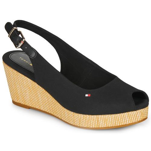 Chaussures Femme Sandales et Nu-pieds Tommy Hilfiger ICONIC ELBA SLING BACK WEDGE Noir