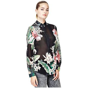 Vêtements Femme Tuniques Guess Chemisier Clouis Imprimé Nature Noir W82H06 38