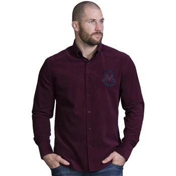 Vêtements Homme Chemises manches longues Ruckfield Chemise velours bordeaux Rouge