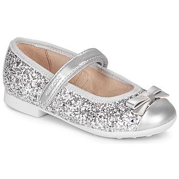 Chaussures Fille Ballerines / babies Geox JR PLIE' Argenté