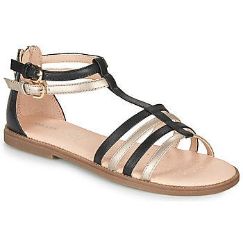 Chaussures Fille Sandales et Nu-pieds Geox J SANDAL KARLY GIRL Noir / Doré