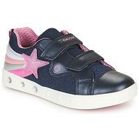 Chaussures Fille Baskets basses Geox J SKYLIN GIRL Marine / Rose