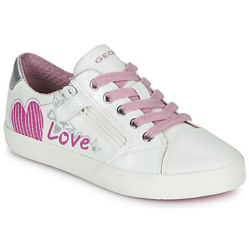 Chaussures Fille Baskets basses Geox J GISLI GIRL Blanc / Rose / Argent
