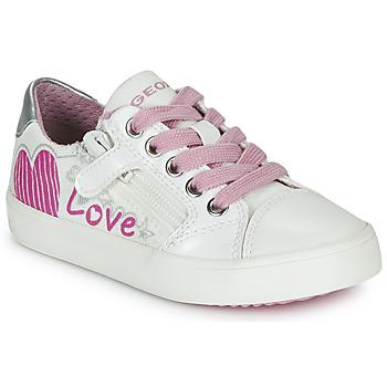 Chaussures Fille Baskets basses Geox J GISLI GIRL Blanc / Rose / Argent