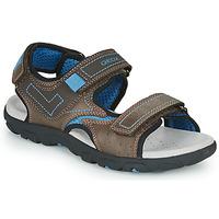 Chaussures Garçon Sandales sport Geox JR SANDAL STRADA Marron / Bleu