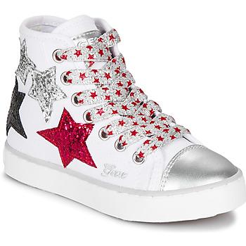 Chaussures Fille Baskets montantes Geox JR CIAK GIRL Blanc / Rouge / Noir
