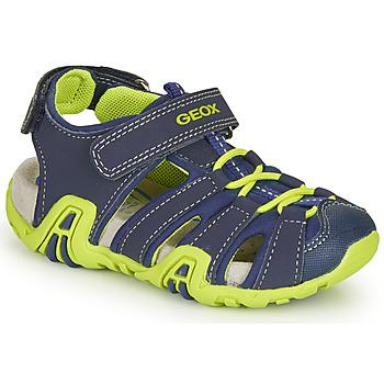 Chaussures Garçon Sandales sport Geox B SANDAL KRAZE Marine / Vert