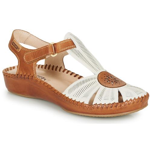 Chaussures Femme Sandales et Nu-pieds Pikolinos P. VALLARTA 655 Blanc / Camel