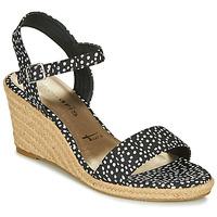 Chaussures Femme Sandales et Nu-pieds Tamaris  Noir / Blanc