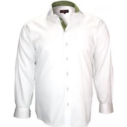 Vêtements Homme Chemises manches longues Doublissimo chemise popeline rome blanc Blanc