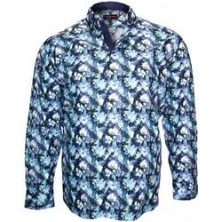 Vêtements Homme Chemises manches longues Doublissimo chemise imprimee biaritz bleu Bleu