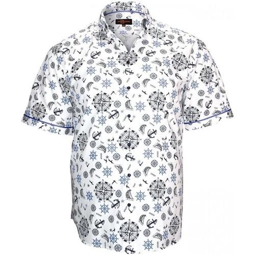 Vêtements Homme Chemises manches courtes Doublissimo chemisette imprimee sextan blanc Blanc