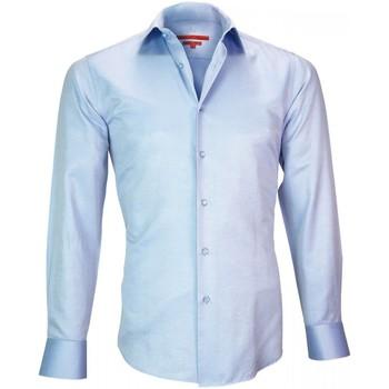 Vêtements Homme Chemises manches longues Andrew Mc Allister chemise repasage facile kent bleu Bleu