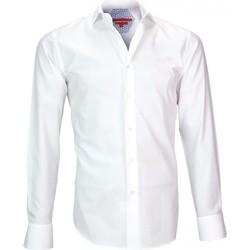 Vêtements Homme Chemises manches longues Andrew Mc Allister chemise tissu armure leeds blanc Blanc