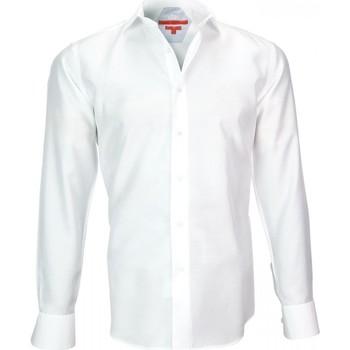Vêtements Homme Chemises manches longues Andrew Mc Allister chemise en gabardine leeds blanc Blanc