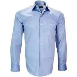 Vêtements Homme Chemises manches longues Emporio Balzani chemise fil a fil firenze bleu Bleu