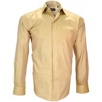 Vêtements Homme Chemises manches longues Emporio Balzani chemise fil a fil firenze beige Beige