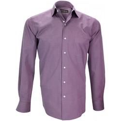 Vêtements Homme Chemises manches longues Emporio Balzani chemise fil a fil firenze violet Violet